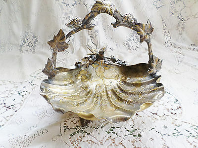 Antique Ornate Aesthetic Movement Mixed Metal Basket With Bird & Leaf Design