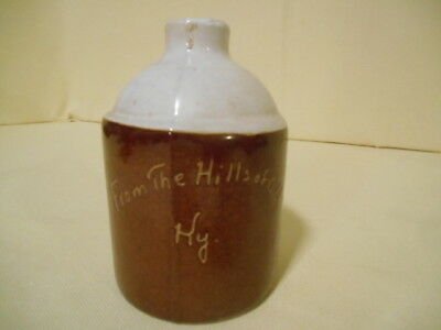 """Vintage 2 Tone Bybee Pottery """"From the Hills of Old Ky"""" Mini Whiskey Jug 4 1/4"""""""