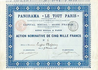 Expo Universelle 1889 Ultra Rare Seulement 8 Actions de 5000 F A Voir Absolument