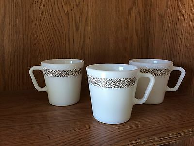 Lot OF THREE vintage Corning Corelle Woodland Brown PYREX milk glass white mugs