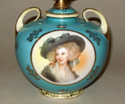 "Vintage Marie Antoinette French Blue Gainsborough Portrait 13 5/8"" Tiny Urn Lamp"