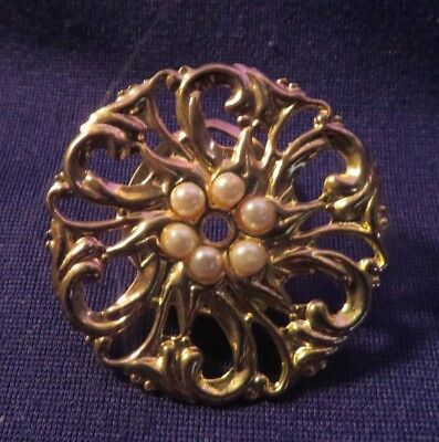 "Vintage Gold Tone Metal Scarf Clip 1.5"" Diameter Ornate With Faux Pearls CLASSY"