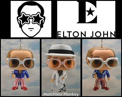 Elton John Custom Christmas Ornament Collectible Figure POP Funko w/ Glasses Hat