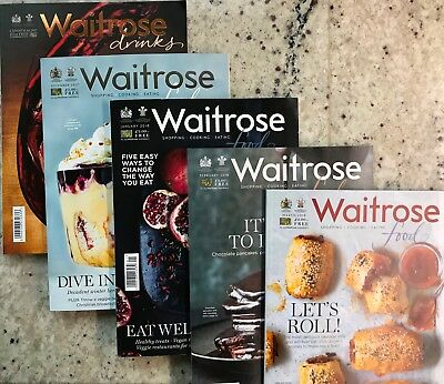 5x Waitrose Food/Drink Magazines **NEW**