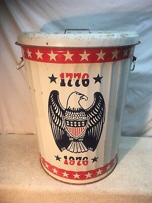 Vintage Large Metal Trash Can USA EAGLE Double Sided  1776 / 1976 Bicentennial