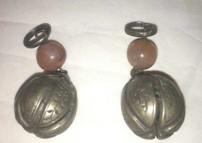 Pair Of Antique Chinese Silver Bells W. Carnelian Beads Qing Dynasty