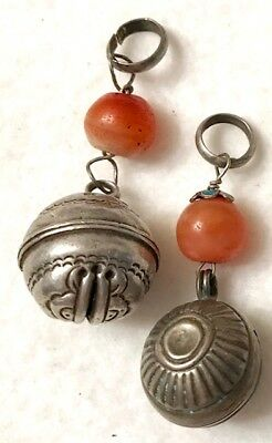 2 Small Round Antique Chinese Silver Bells W. Carnelian Beads Qing Dynasty