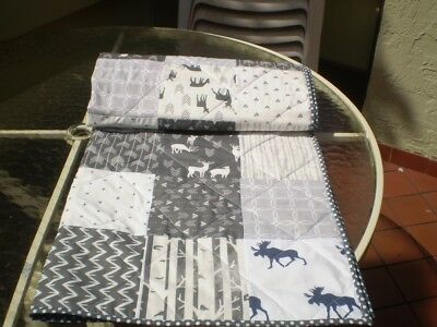 Handmade Baby quilt,woodland,rustic,patchwork crib quilt,toddler,Monochrome