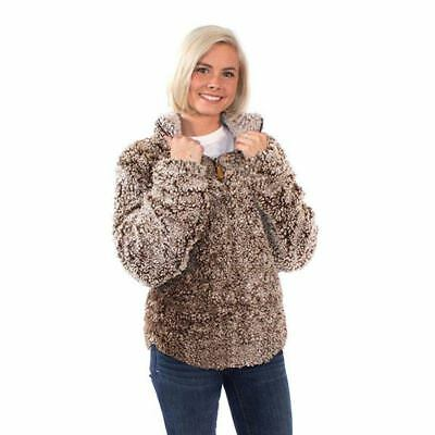 Simply Southern MOCHA Color Ultrasoft Sherpa Pullover 3/4 Zip