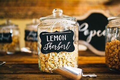 Wedding Popcorn Jars, Scoops and Hand Painted Sign, Unique Canapé Alternative