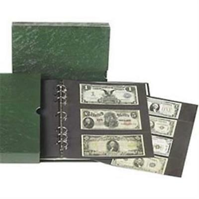 Large Currency Banknotes Album 20 Pages 7 Rings Binder + Slipcase Littleton New