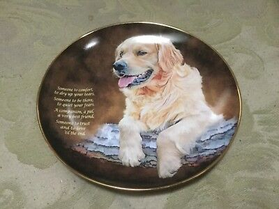 The Danbury Mint Cherished Golden Retrievers Collector Plate K4714