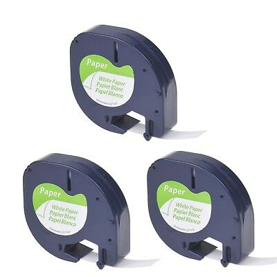 3PK Black on White Tape Label for DYMO Letra Tag Lablemaker LT 91330 12mm 1/2""