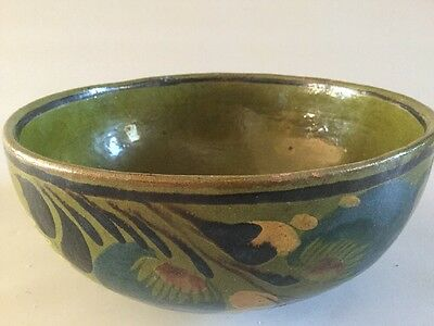 "Vintage HandMade Hand Painted Green Glazed Clay Bowl 8 5/8 X 3 7/8"" Signed ME"