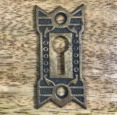 """Eastlake Victorian Brass Key Hole Cover Antique 1 7/8"""" X 7/8"""""""