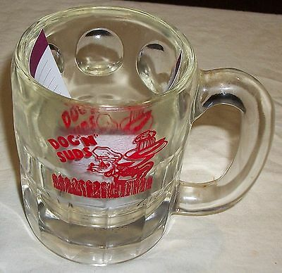 60s VINTAGE DOGS N SUDS CHILD'S ROOT BEER THICK HEAVY GLASS MUG BEAUTIFUL MUG