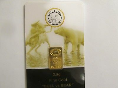 2.5 Gram 999.9 Solid Gold Bar As Shown