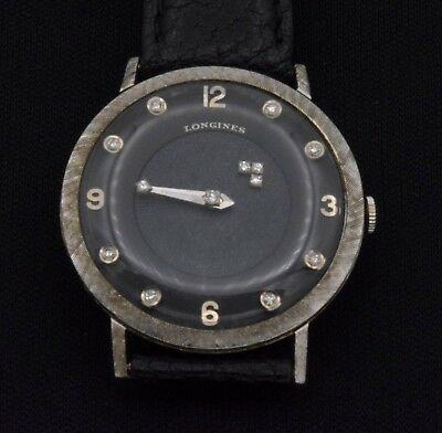 14k Vintage Longines Mystery Dial Watch Black With Diamond Dial