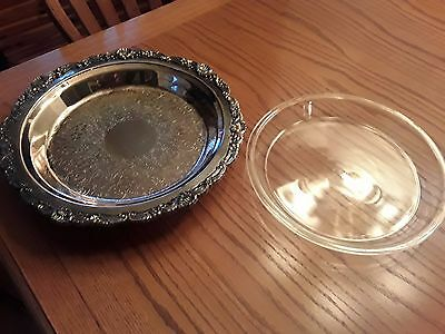 """Poole Silver Plate Pie Plate 14"""" Round Footed Floral Shell & Scroll #3218"""