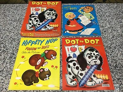 3 MIB Unused Vintage 1950s Saalfield Dot To Childs Picture Coloring Books