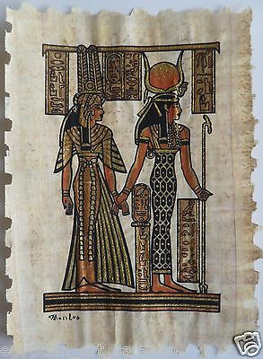 Papyrus Painting From Egyptian Art Caravan of Hathor & Queen Nefertari