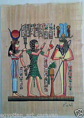 Papyrus Painting From Egyptian Art Caravan of Ramses surrounded by Hathor Osiris