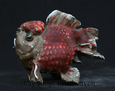 """10"""" Old Chinese Famille Rose Pottery Porcelain Fish Art Sculpture Statue"""