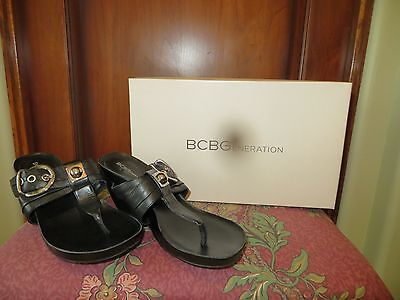 BCBGeneration Women's Black Leather Wedgie Sandals BG Rumba  size 7 Mint in Box