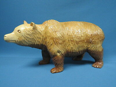 Large Hand Carved Solid Wood Grizzly Brown Bear