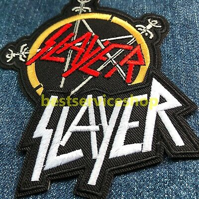 2x SLAYER Rock Band Logo Thrash Metal Embroidered Iron Sew On Patch Badge tee