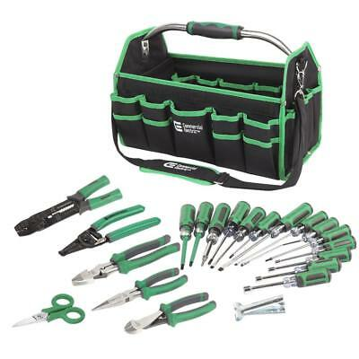 Electrician's Tool Set 22-Piece Handheld Green Tool Bag w/ Pockets New