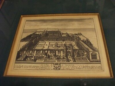 Very Rare - Early 18Th Century (1707)  Engraving Of Trinity College Cambridge