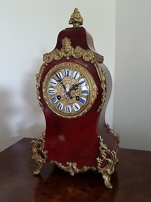 A French late 19thC Louis XV style red Tortoise shell Boulle Clock - maker A&N