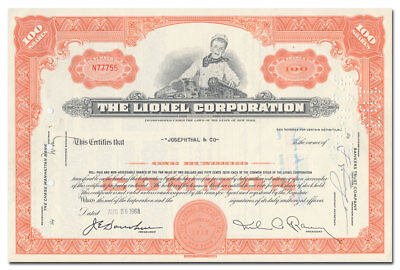 Lionel Corporation Stock Certificate (Toy Trains)