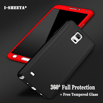360° Protective Hard Thin Case Cover +Tempered Glass For Samsung Galaxy Note 5 4