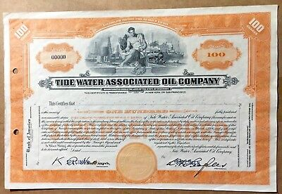 Tide Water Associated Oil Company Stock Certificate Original Unissued 1923