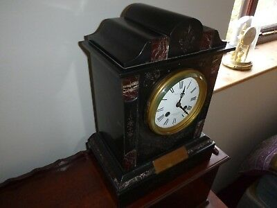 Lovely Antique Japy Freres Slate & Marble Mantel Clock in Working Order