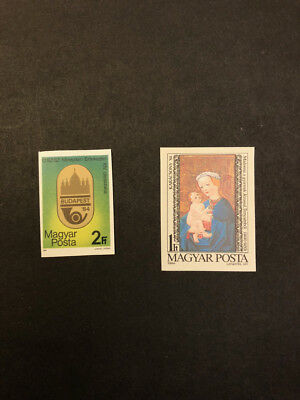 Hungary Scott No. 2870, 2886 MNH Imperforate Imperf Imp Stamps of 1984