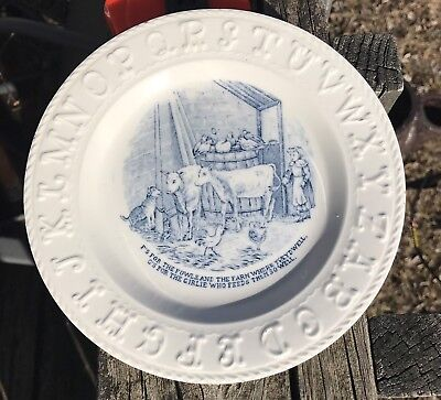 Antique 1800s ABC Plate Childs Blue Transferware Dish Cow Dog Girl Chickens