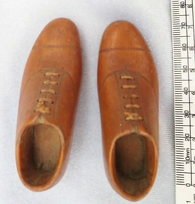 **UNIQUE Pair Victorian  Carved  Wood Brogue Shoes TREEN