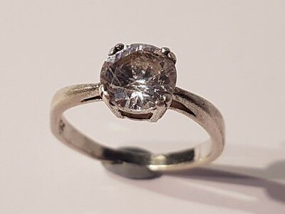 BEAUTIFUL sterling silver & large cubic zirconia ring. Metal detecting find