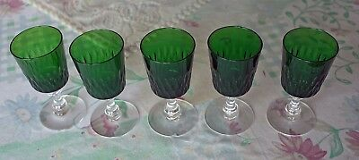 5 Antique Crystal White Wine Glasses