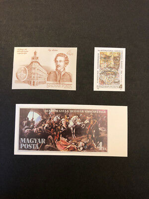 Hungary Scott No. 2989,2997, 2998 MNH Imperforate Imperf Imp Stamps of 1986