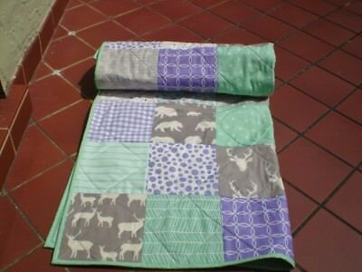 Handmade Baby quilt,woodland,rustic,girl crib quilt,toddler,Woodsy Mint n lilac