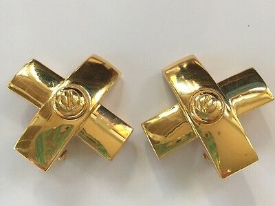 VINTAGE ST. JOHN COLLECTION EARRINGS CLIP-ON GOLD TONE Large X
