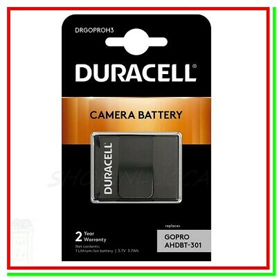 Batteria Pila Ricaricabile DURACELL DRGOPROH3 x Action Cam GoPro Hero3 AHDBT-301
