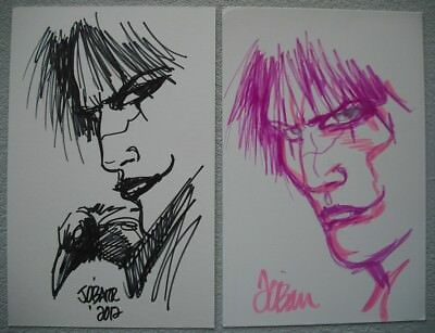 """2 Eric Draven (Brandon Lee) Sketches - Drawn By """"The Crow"""" Creator James O'Barr"""