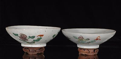 Two Antique Chinese Multicolored Porcelain Bowl, Qing Dynasty, 19th c