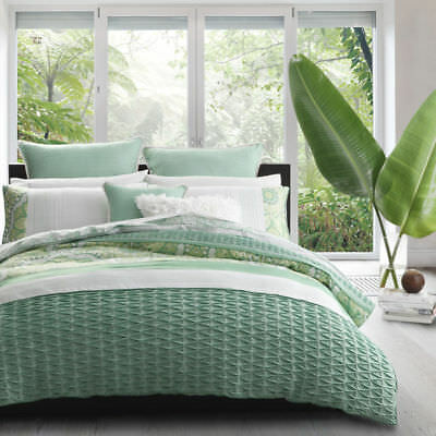 Logan and Mason Doona Duvet Quilt Cover Set - King & Queen Size  -WILLOW GREEN