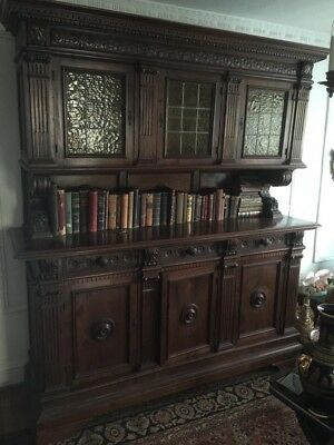 Large Antique European Carved Buffet Sideboard Cabinet Hutch Cupboard